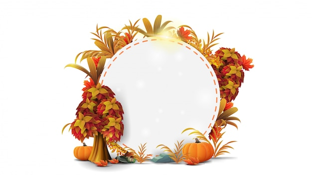A round frame of autumn leaves and autumn elements Premium Vector