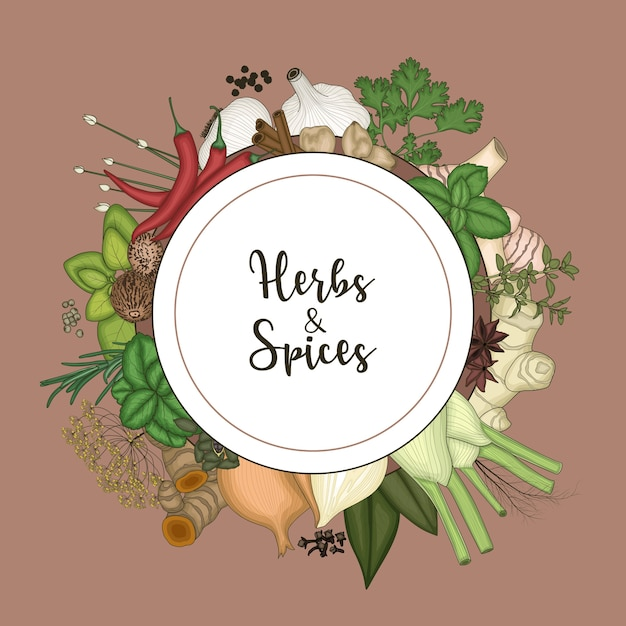 Round frame background with spices and herbs Premium Vector