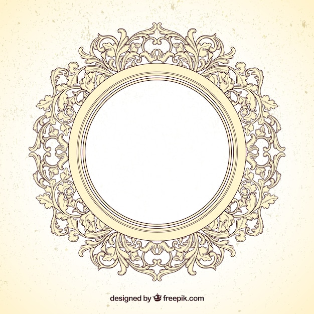 Round frame in ornamental style Vector   Free Download