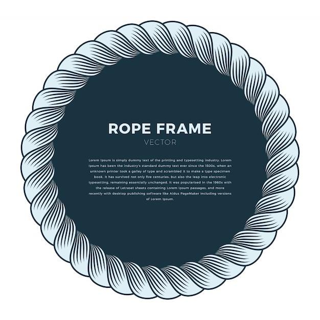 Круглая рама из веревки с узлом. ручной обращается вектор фон Premium векторы