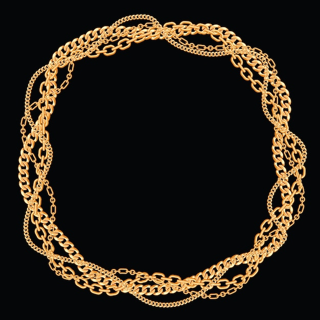 Round frame made with twisted golden chains. on black. vector illustration. Premium Vector