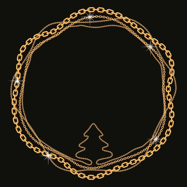 Round frame made with twisted golden chains with tree shape Premium Vector