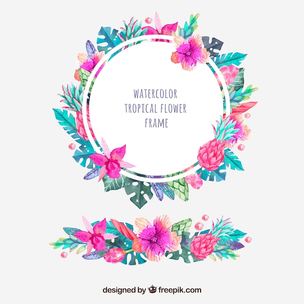 Round frame of tropical watercolor flowers and ornament Free Vector