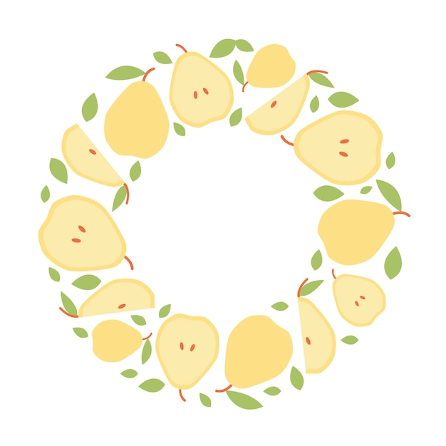 Round frame of pear for social media in flat style. Premium Vector