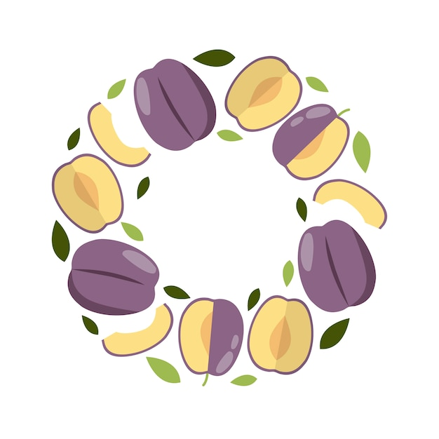Round frame plum in flat style for print, social media, card. Premium Vector