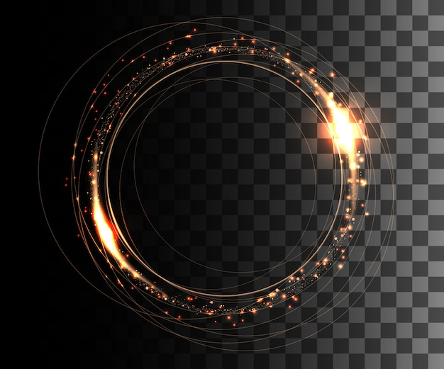 Round frame. shining circle banner. orange circle effect with glowing sparks.  illustration on transparent background. website page and mobile app Premium Vector