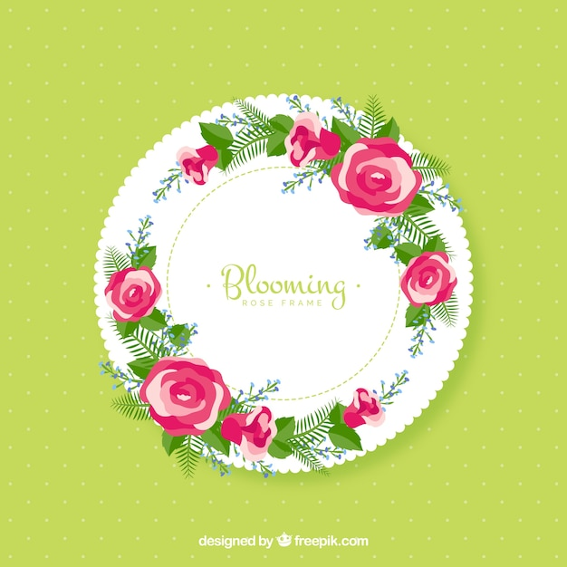Round frame with floral decoration Free Vector