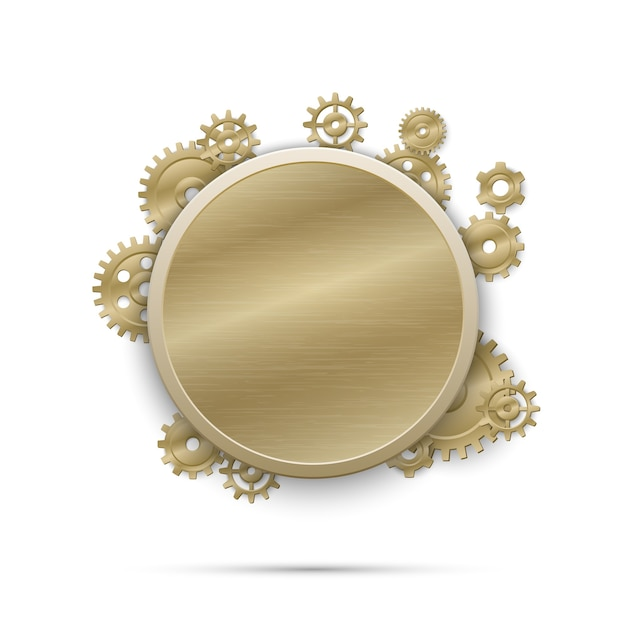 Round frame with gears. mechanism engineering with cogwheel, equipment machinery. steampunk Free Vector