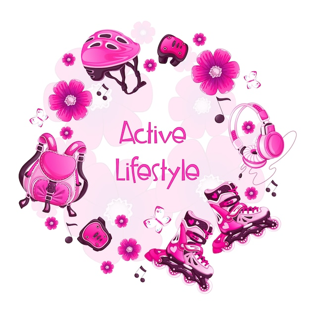 Round frame with pink floral sports accessories. roller skates Premium Vector