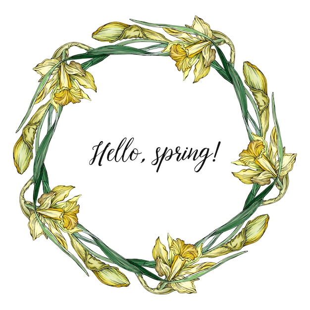 Round frame with pretty yellow daffodils. Premium Vector