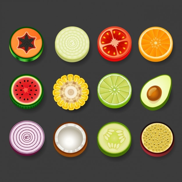 Round fruit and vegetables Free Vector