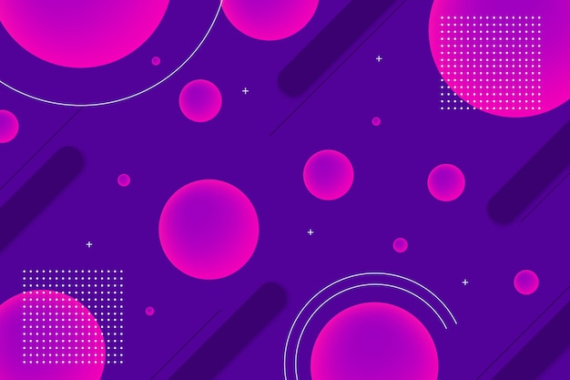 Round geometrical shapes background with memphis elements Free Vector