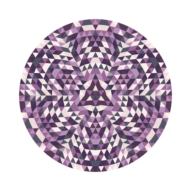 Round geometrical triangle kaleidoscopic mandala design symbol - symmetric vector pattern digital art