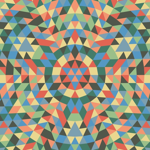 Round geometrical triangle mandala background - symmetrical vector pattern design from colorful triangles Free Vector