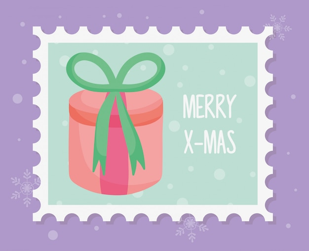 Round gift box with bow merry christmas stamp Premium Vector