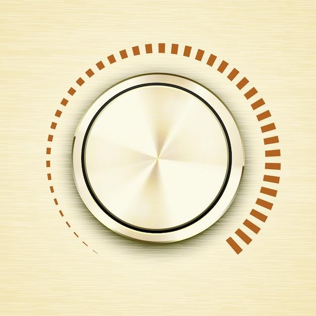Manopola o pulsante del volume in metallo spazzolato oro rotondo con una scala rossa che mostra decibel in aumento e uscita audio su apparecchiature elettroniche o di trasmissione con icona vettoriale ombra dimensionale Vettore gratuito