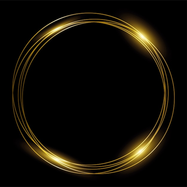 Round gold frame of golden rings on black background. Premium Vector