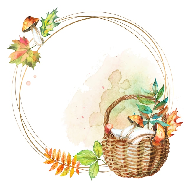 Round gold frame with a basket of mushrooms. Premium Vector