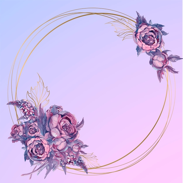 Round gold frame with a bouquet of watercolor flowers Premium Vector