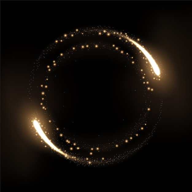 Round gold glow rings with sparks Premium Vector