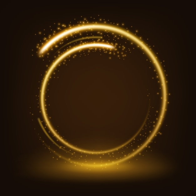 Round gold shiny with sparks Premium Vector