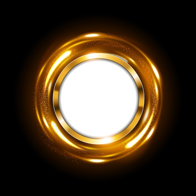 Round gold sign with text space on spinning gold light Premium Vector