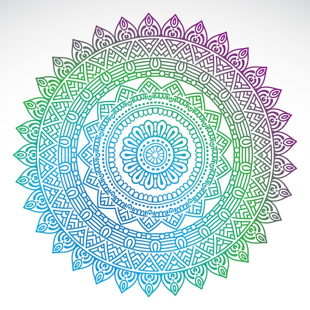 Round gradient mandala on white isolated background Free Vector