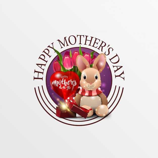 Round greeting banner for mother's day with plush rabbit, tulips and gift Premium Vector