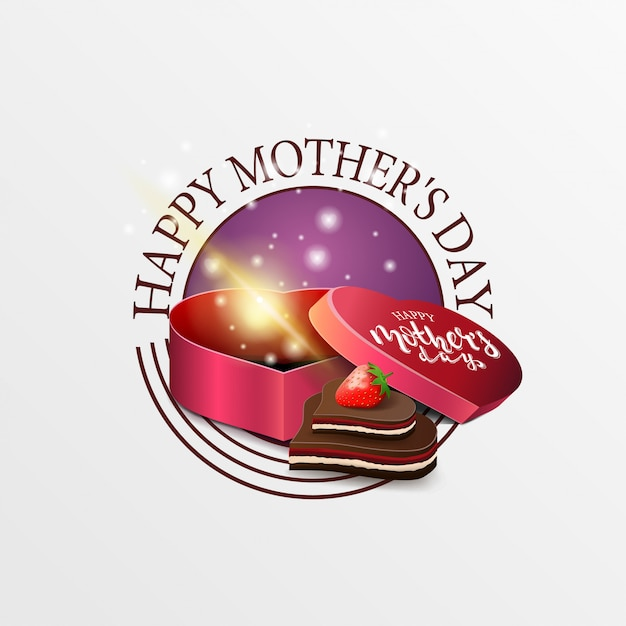 Round greeting banner for mother's day Premium Vector