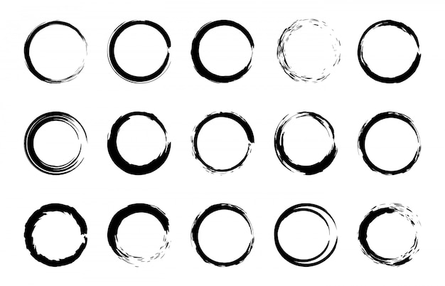 Round grunge brush frames. circle and stamp brush stroke borders, artistic brush blots and black paint frame    elements set. collection of paintbrush rings on white background Premium Vector