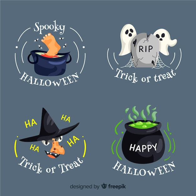 Round halloween badge collection Free Vector