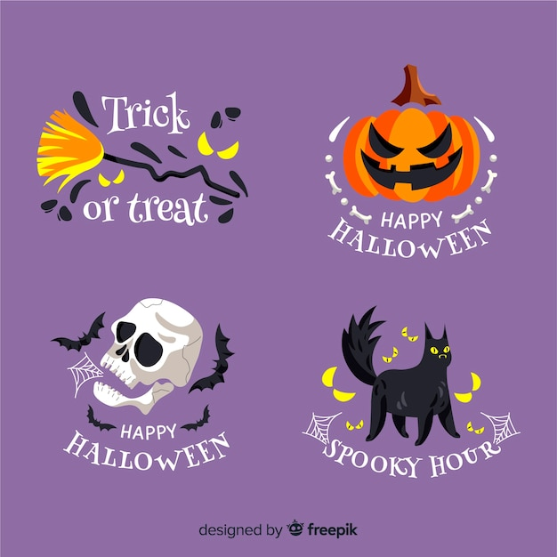 Round halloween label collection Free Vector