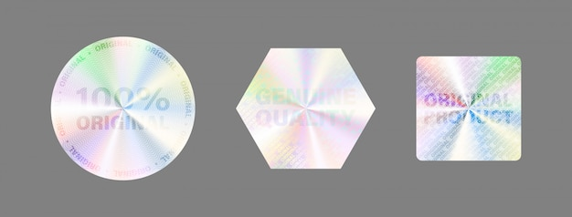 Round hologram label set  on white. geometric holographic label for award , product guarantee, sticker design.  hologram sticker collection. quality holographic sticker set. Premium Vector