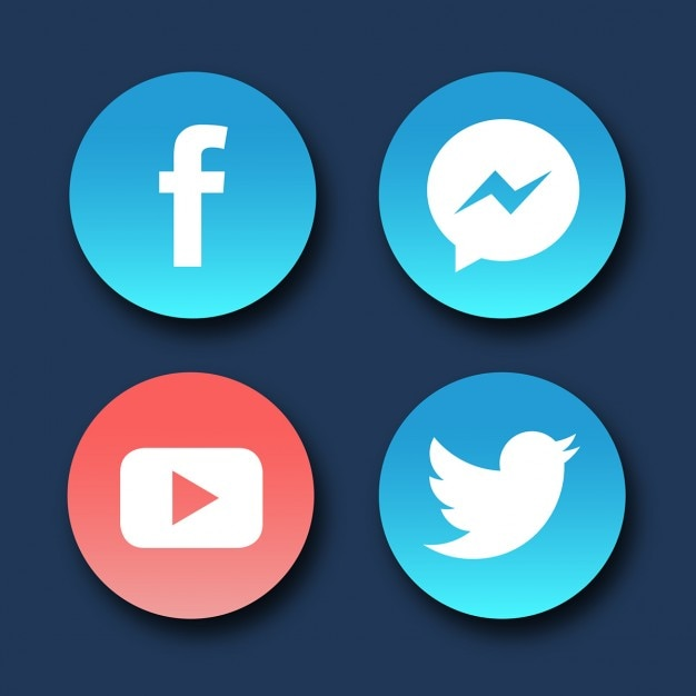 Round Icons For Social Networks Vector