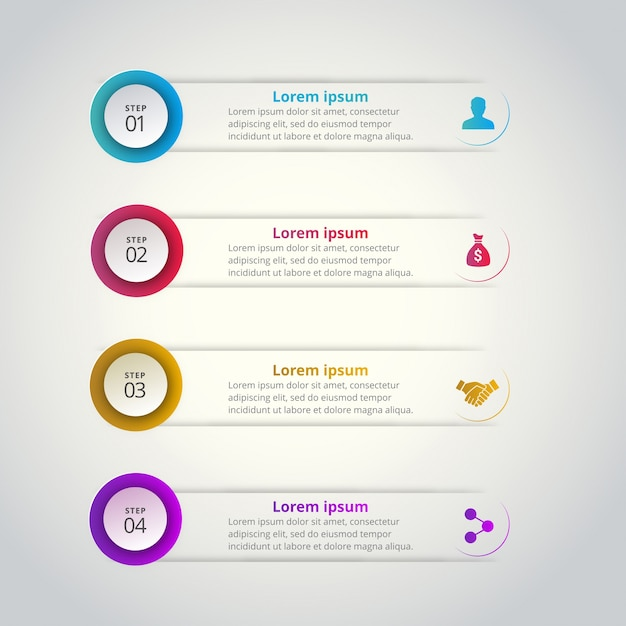 Round infographic banners with steps Free Vector