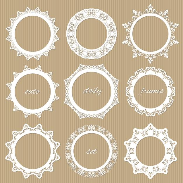 Round lacy doilies set. Premium Vector