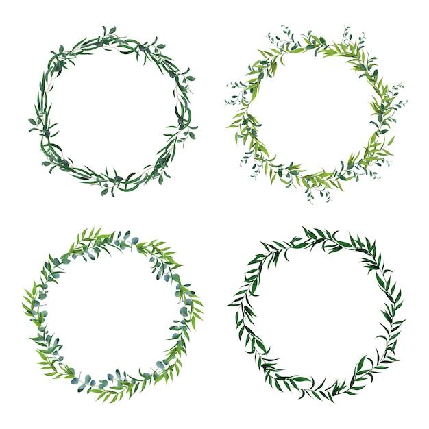 丸い葉のボーダー。サークルグリーンの葉の花輪、花のフレーム、装飾的なサークルの招待状。花飾りのアイコンを設定します。緑の葉のフレーム、ボーダーリース緑イラスト Premiumベクター