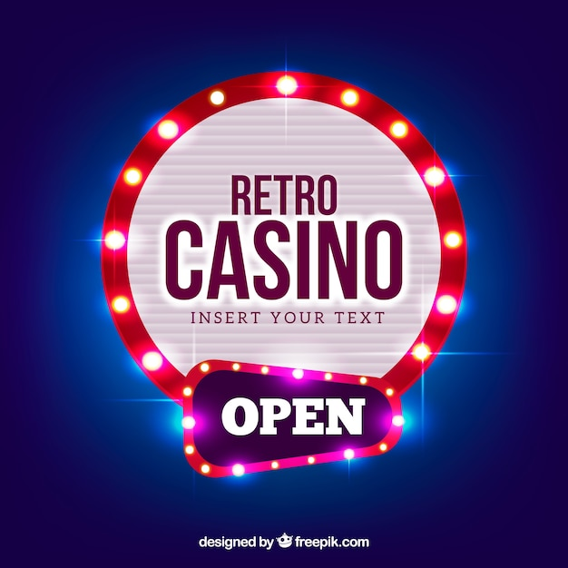 Round light casino sign background Free Vector