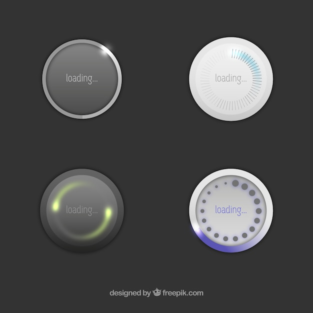 Round loading icons Free Vector