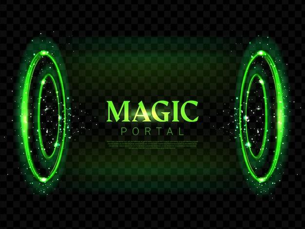 Round magic portal neon background Free Vector
