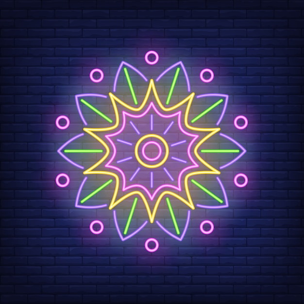 Round mandala ornament neon sign Free Vector