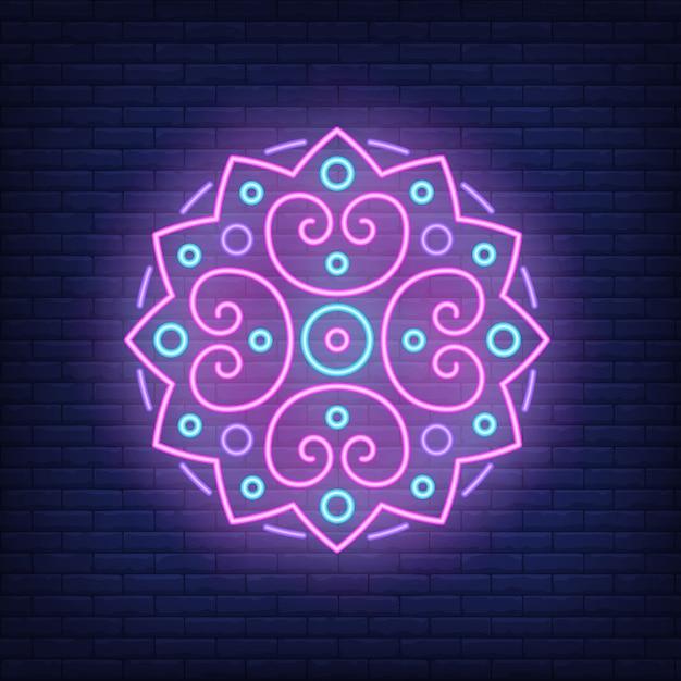 Round mandala pattern neon sign Free Vector
