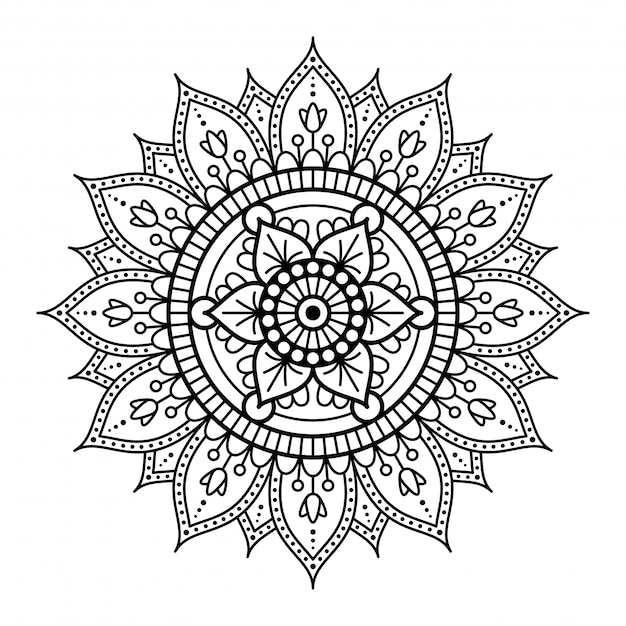 Round mandala on white background Premium Vector