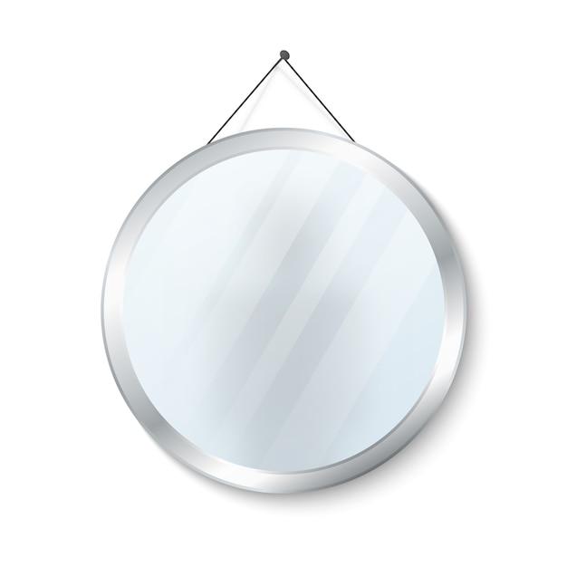 Round mirror with steel frame vector illustration Premium Vector