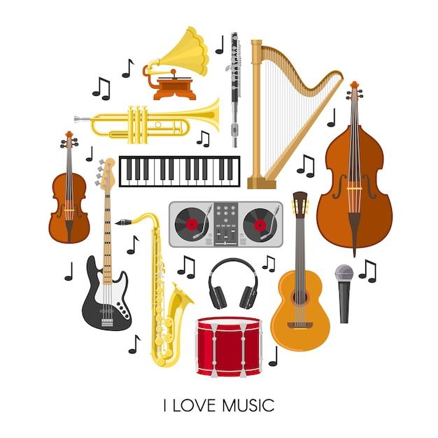 Composizione musicale rotonda Vettore gratuito
