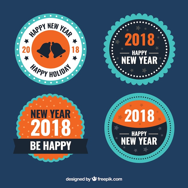 Round new year badges in blue and orange