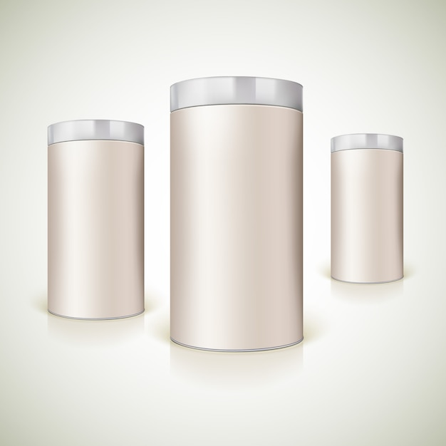 Round packaging for the presentation of product. Premium Vector
