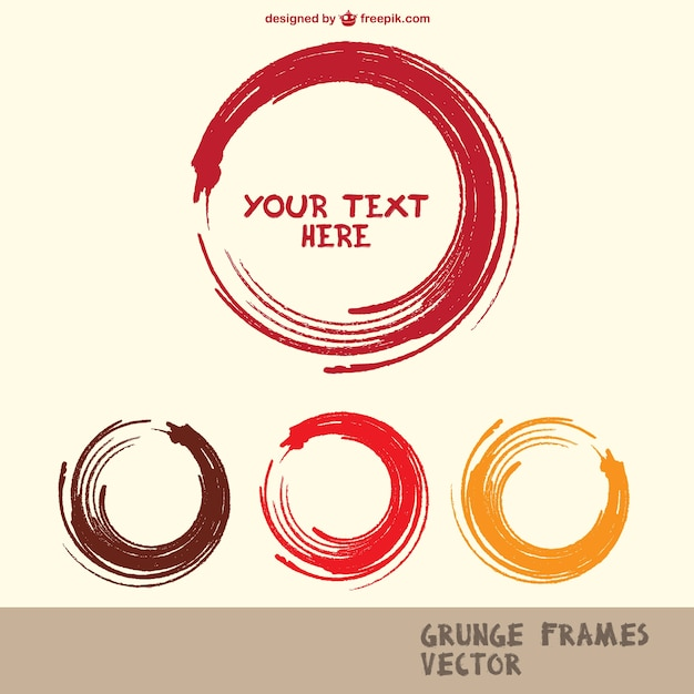 Round paint strokes frames collection Free Vector
