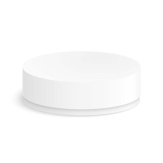 Round paper box for your design on a white background. Premium Vector