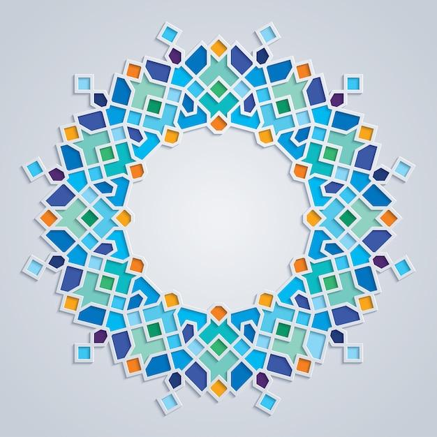 Round pattern colorful mosaic islamic geometric ornament Premium Vector